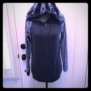 Tops - Navy mixed fabric hoodie. Like new.